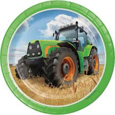 "Tractor Time 7"" Paper Plates"