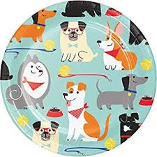 "Dog Party 7"" Paper Plates"