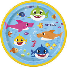 "Baby Shark 7"" Paper Plates"