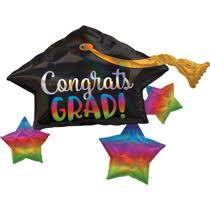 CONGRATS GRAD SUPER SHAPE RAINBOW HOLOGRAPHIC 34""