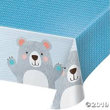 BIRTHDAY BEAR PLASTIC TABLE COVER