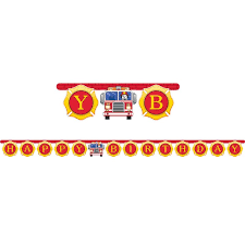Fire Truck Birthday Banner