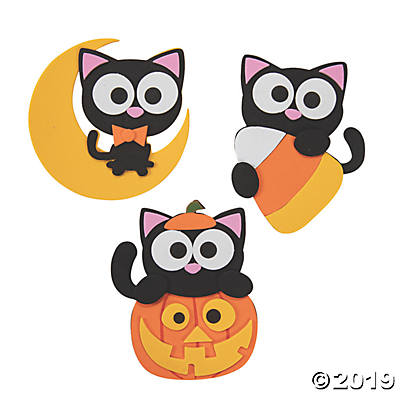 HALLOWEEN CAT MAGNET CRAFT KIT MAKES 12