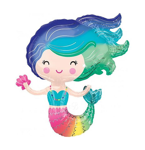 RAINBOW MERMAID SUPER SHAPE MYLAR BALLOON