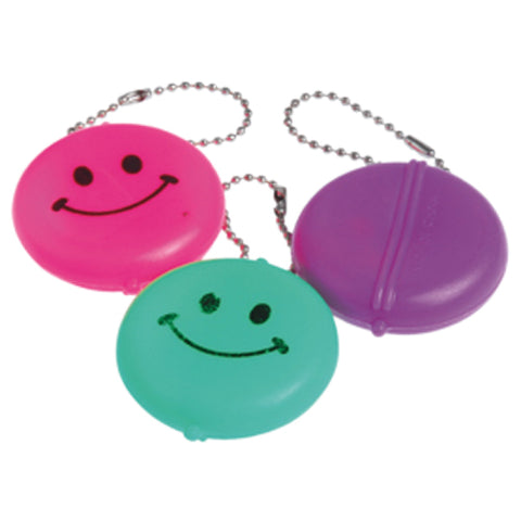 KEYCHAIN - SMILE FACE COIN PURSE      12 CT/PKG