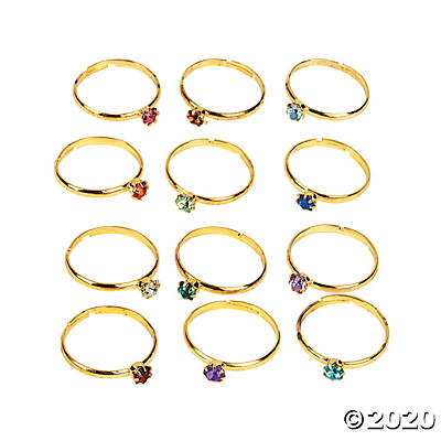 Metal Adjustable Birthstone Rings