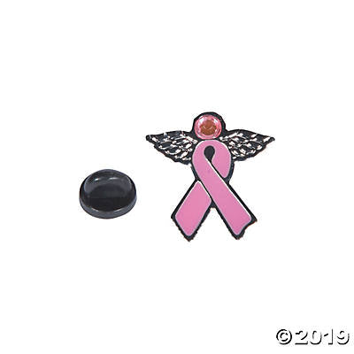 PINK RIBBON ANGEL PINS 12CT