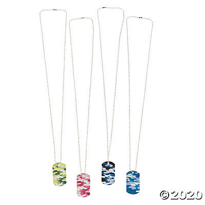 Metal Camouflage Dog Tag Necklaces