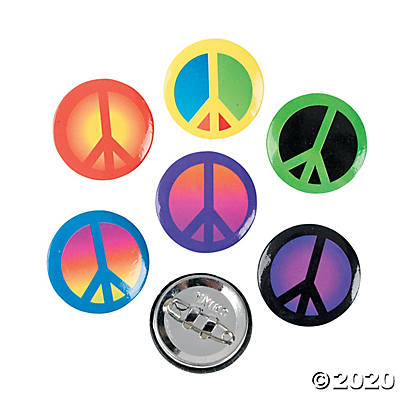 Mini Metal Peace Sign Buttons