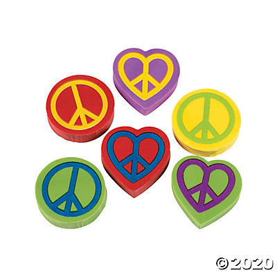 PEACE SIGN ERASERS, 24 PIECES