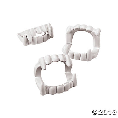 WHITE GOOFY VAMPIRE TEETH 144PCS