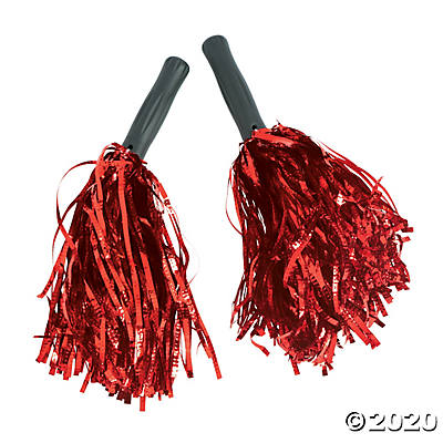 Red Metallic Pom Poms