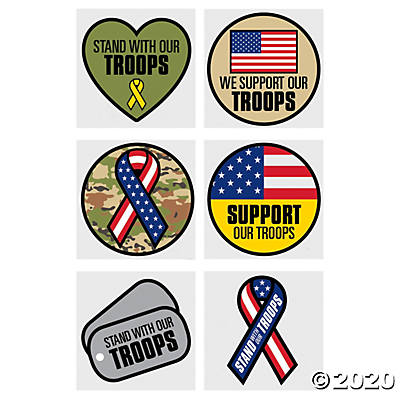 SUPPORT OUR TROOPS TEMPORARY TATTOOS 72PCS