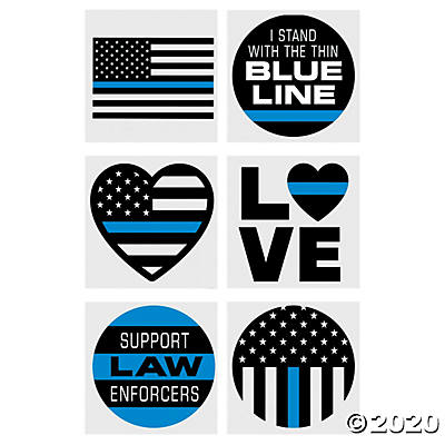 THIN BLUE LINE TEMPORARY TATTOOS 72PCS