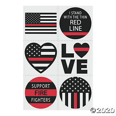 THIN RED LINE TEMPORARY TATTOOS 72PCS