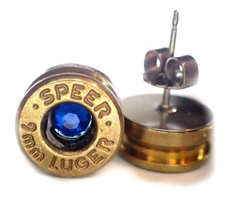 9MM Bullet earrings BRASS Bullet casings with Crystal in center choice of color