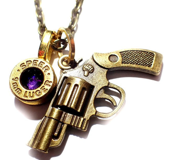 9mm Bullet head & Gun Necklace with link chain with crystal in center, choose color