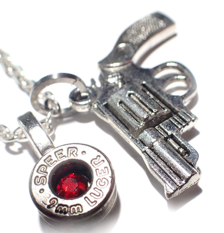 9mm Silver Bullet head & Gun Necklace with link chain and crystal (choice of color)