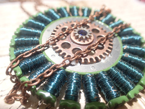 Steampunk electronic gears and wires necklace