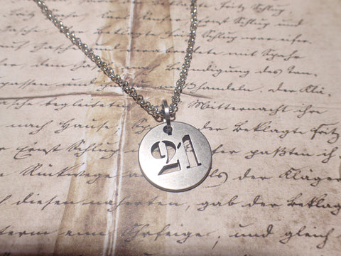 #21 simple metal tag necklace. industrial coolness the number of PERFECTION!, harmony