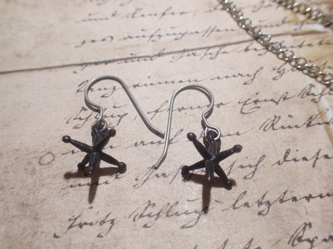 Tiny Jacks earrings,black jack earrings dangle earrings