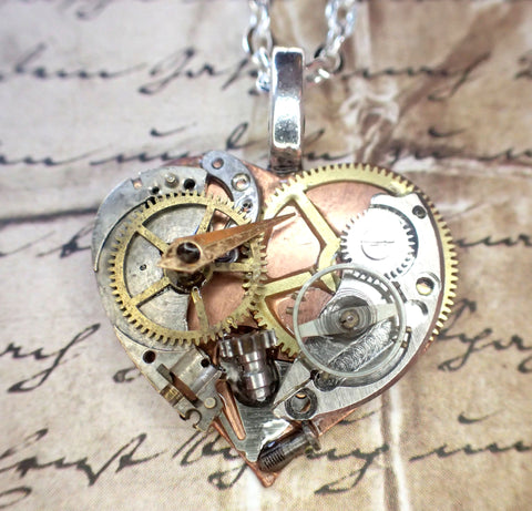 Steampunk Heart necklace, vintage gears & parts