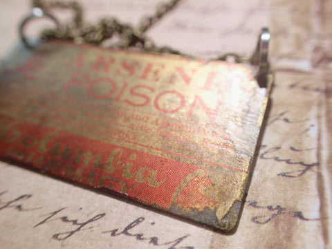 "Vintage Poison Label Necklace Apothecary Arsenic brass 18"" chain"