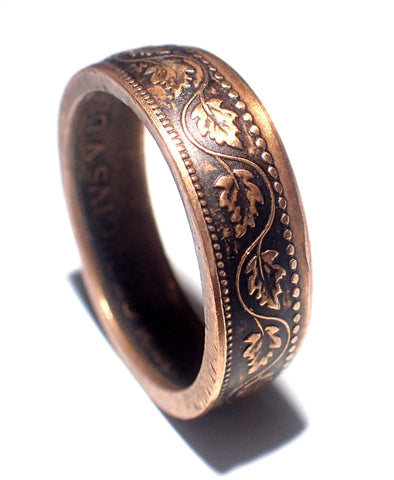 Coin Ring CANADIAN LEAF One cent RING! Made from a genuine late 1800's - early 1900's copper coin! pick your size