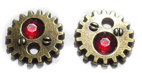 Bronze Gear earrings with crystal (Color of Choice) steampunk gearrings stud post earrings