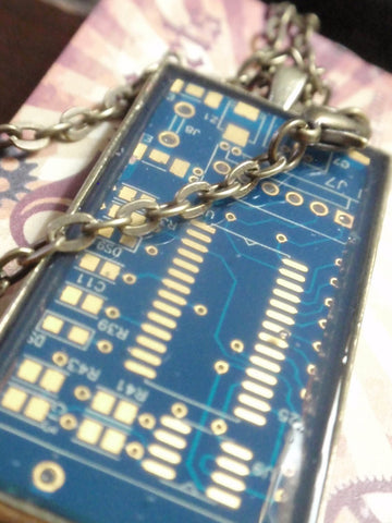 Circuit board jewelry blue necklace for techie 1 x 2 Artisan, Handmade, Up Cycled Recycled Jewelry