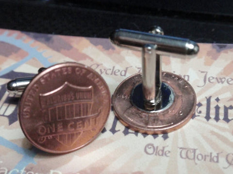 Penny coin Cuflinks copper shield penny coin cufflinks coin cuff links 2010 2011 2012