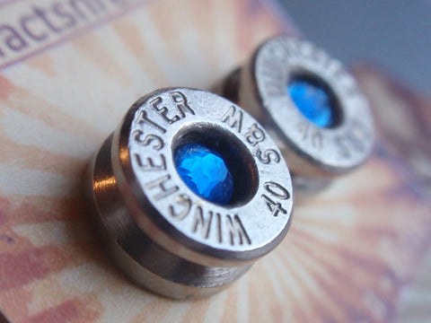 Bullet Casing Earrings - 40 Caliber Stud w gem (color of choice) Bullet Jewelry Stud style earrings Nickel plated silver