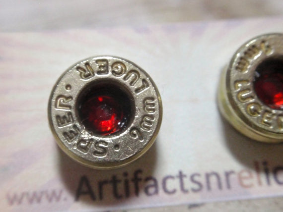 9MM Bullet earrings Nickel silver Bullet casings with (color Choice) Crystal in center