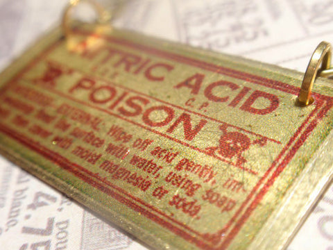 "Nitric Acid Poison Necklace Brass tag style w antiqued brass 18"" chain fancy vintage poison label jewelry"
