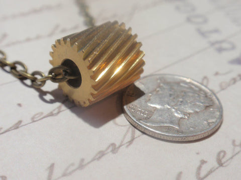 Simple Gear Necklace Steampunk style Brass gear on matching chain