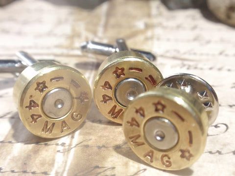 Bullet Shell Cufflinks 44 Magnum ! + Tie tack set two tone Starline (gold & silver) Up Cycled Repurposed Cuff Links .