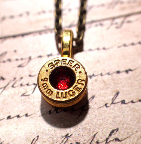 Brass 9mm bullet casing necklace brass bullet shell up cycled jewelry with crystal in center (choose color)