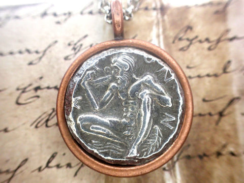 Ancient Greek coin replica necklace Greece