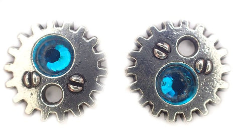 Silver Gear earrings with crystal (Color of Choice) steampunk gearrings stud post earrings