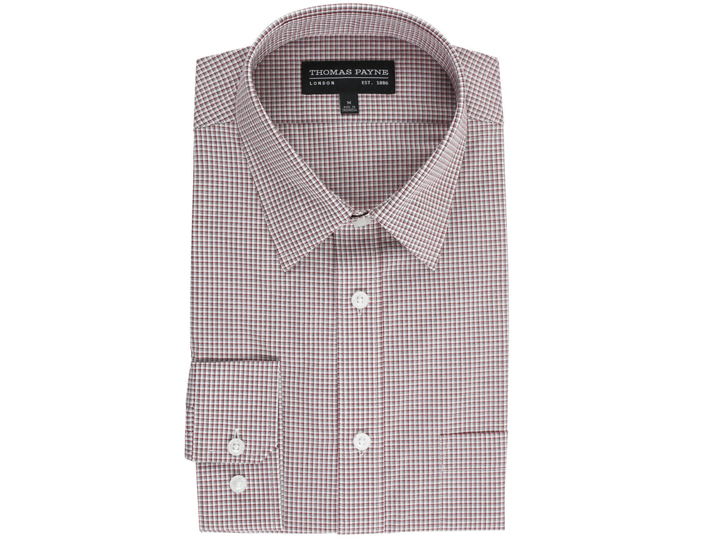 Benjamin Red Check Classic Fit Long Sleeve Shirt
