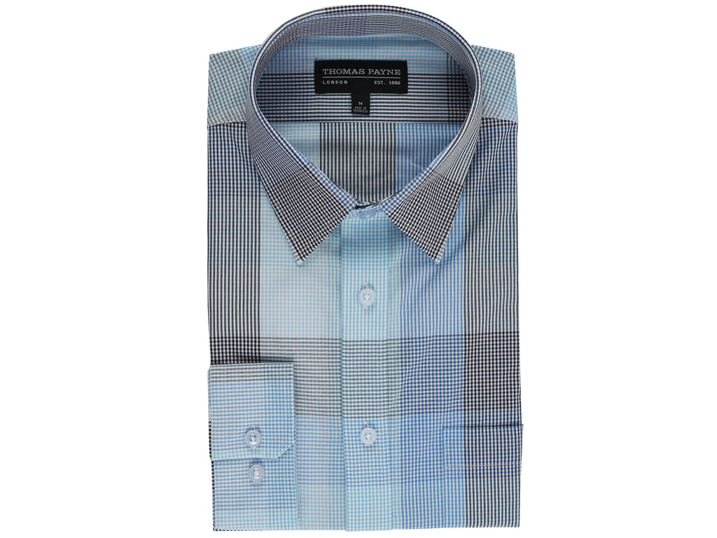 Cedric Blue Classic Fit Long Sleeve Shirt