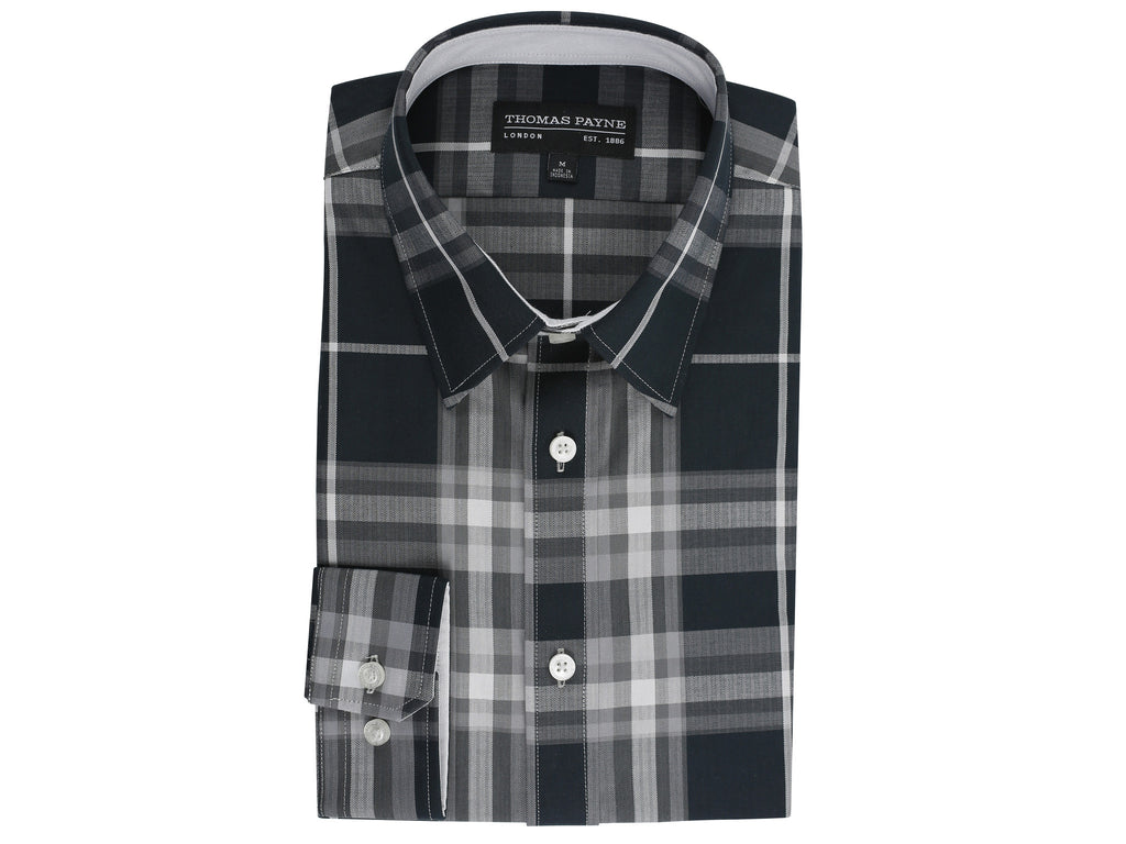 Chaucer Grey / Black Classic Fit Long Sleeve Shirt