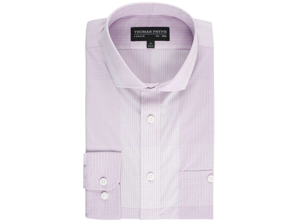 Henry Pink Check Classic Fit Long Sleeve Shirt