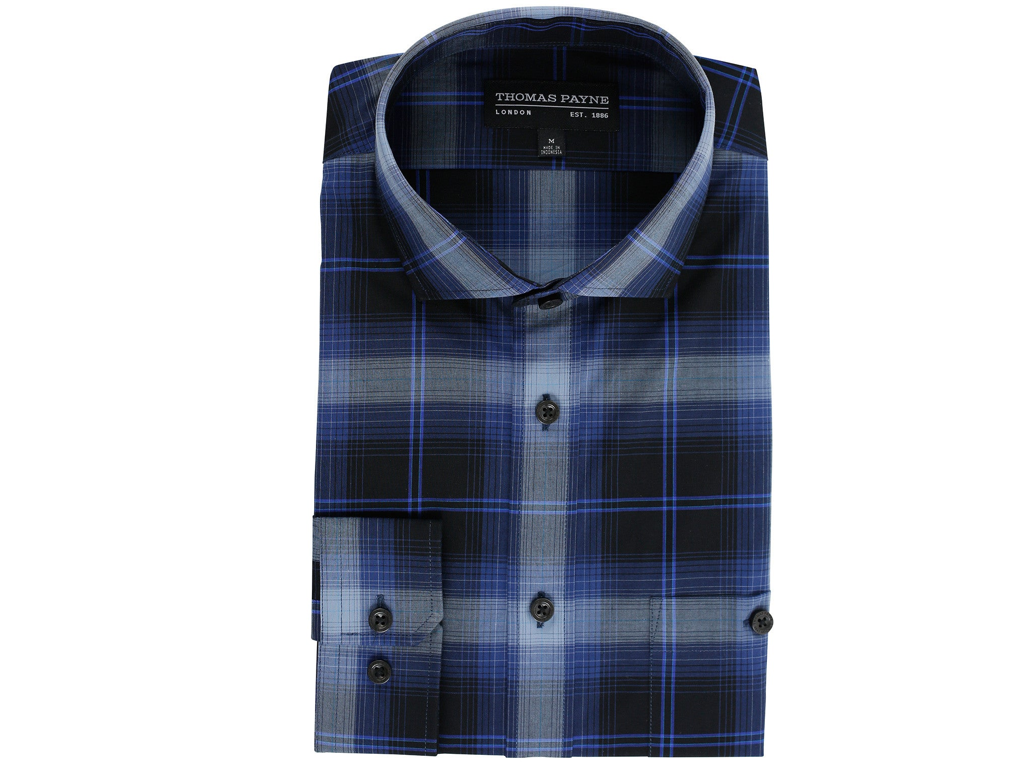 Oswald Navy Classic Fit Long Sleeve Shirt