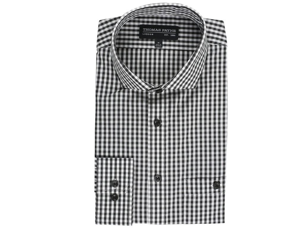 Prince Black Gingham Check Classic Fit Long Sleeve Shirt