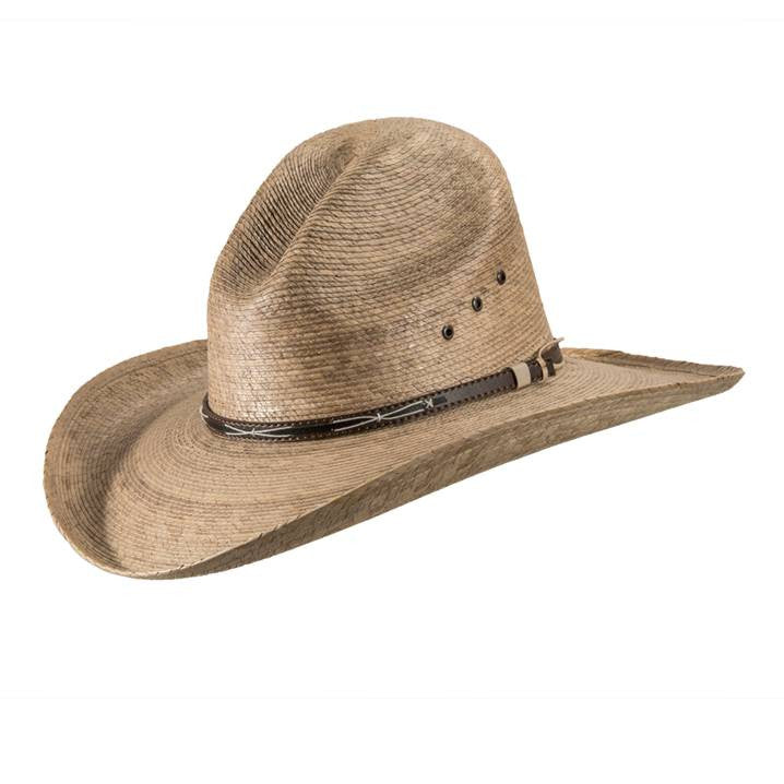 """The Ranger features a gus crown and a stylish faux leather hat band. It is  made of hand woven toasted palm leaf. The 4"""" brim provides excellent  protection ... a9e6e8de7c8"""