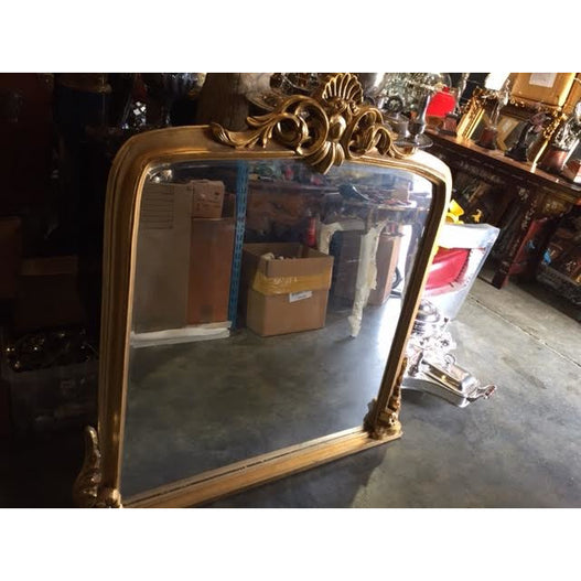 Gold Gilt Leaf Classic Wood Overmantle Wall Mirror (115 x 123cm)