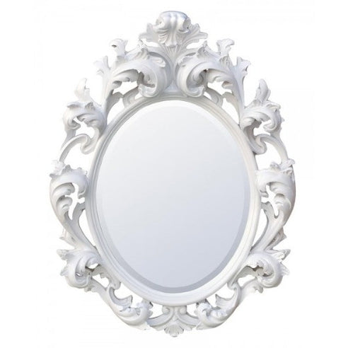 White french rococo style oval mirror