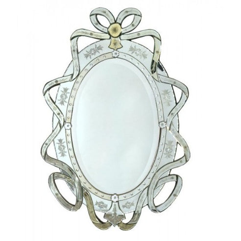 Venetian glass ribbon etched mirror with crown