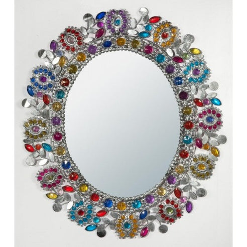 Gypsy Rose be-jewelled silver shabby chic mirror